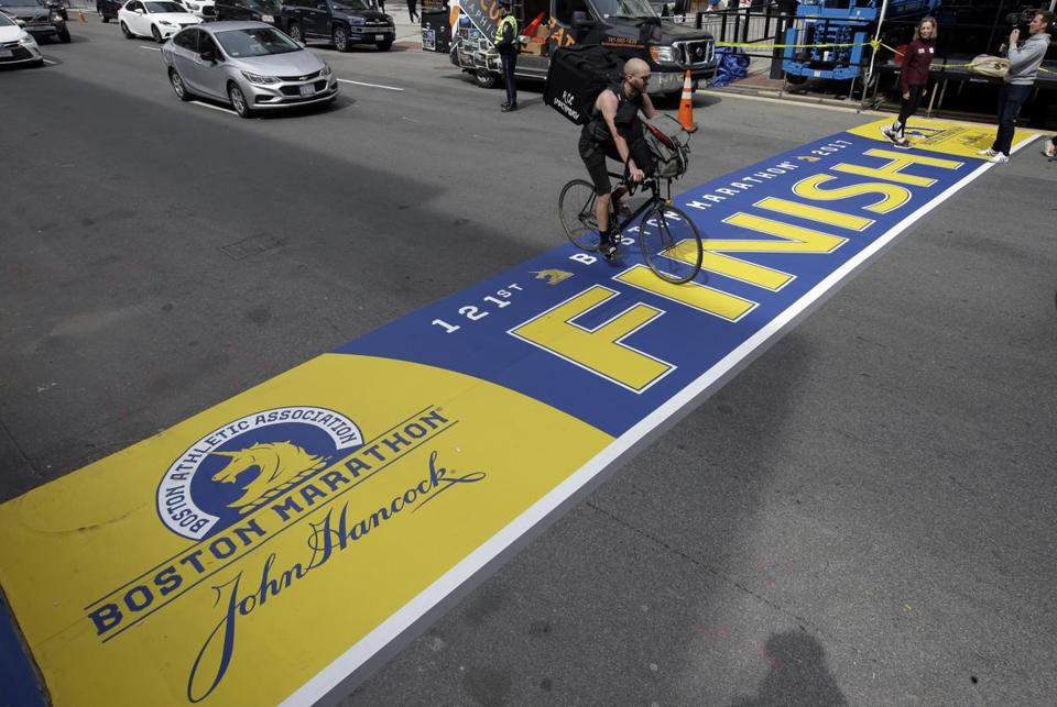 The finish line on Boylston Street.
